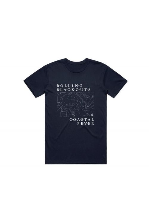 Map Navy Tshirt by Rolling Blackouts Coastal Fever