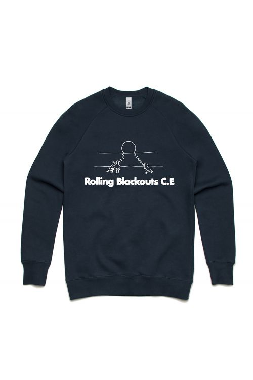 Gulls On The Beach Navy Crewneck by Rolling Blackouts Coastal Fever