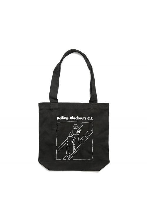 Escalator Girl Tote Bag Black by Rolling Blackouts Coastal Fever